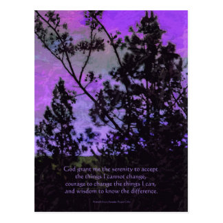 Serenity Prayer Trees and Sky Violet Postcard