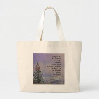 Serenity Prayer Trees Hills Snow Large Tote Bag