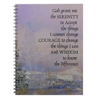 Serenity Prayer Trees Hills Snow Notebooks