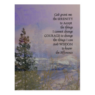 Serenity Prayer Trees Hills Snow Postcard