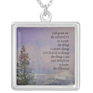 Serenity Prayer Trees Hills Snow Silver Plated Necklace