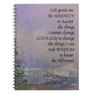 Serenity Prayer Trees Hills Snow Spiral Notebook