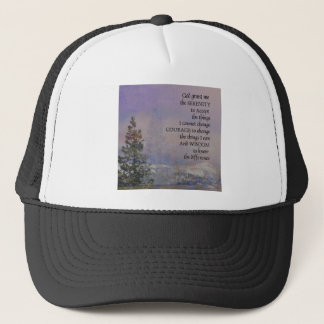 Serenity Prayer Trees Hills Snow Trucker Hat