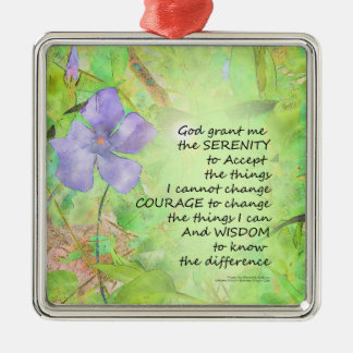 Serenity Prayer Vinca Glow Metal Ornament