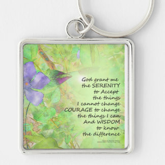 Serenity Prayer Vinca Glow Silver-Colored Square Keychain