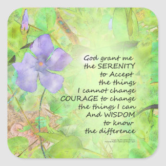 Serenity Prayer Vinca Glow Square Sticker