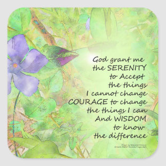Serenity Prayer Vinca Glow Square Sticker