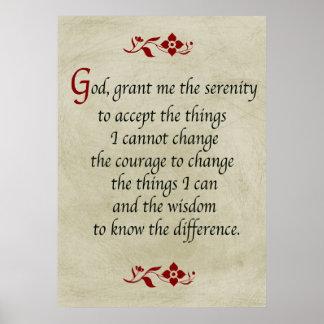 Serenity Prayer/Vintage Style Poster