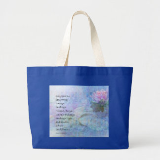 Serenity Prayer Water Lily Wonders Large Tote Bag