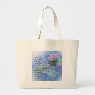 Serenity Prayer Water Lily Wonders Large Tote Bag