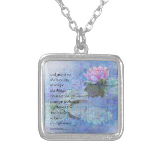 Serenity Prayer Water Lily Wonders Silver Plated Necklace