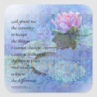 Serenity Prayer Water Lily Wonders Square Sticker
