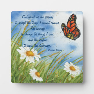 Serenity Prayer -  Wild Daisies & Monarch Plaque