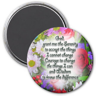 Serenity Prayer with Flowers Magnet