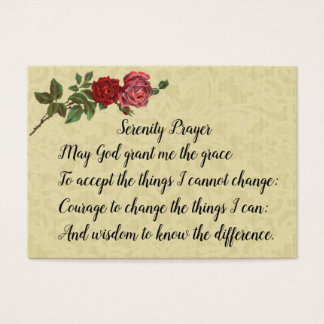 Serenity Prayer with lace & roses Business Card