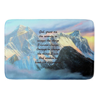 Serenity Prayer With Panoramic View Mount Everest Bath Mat