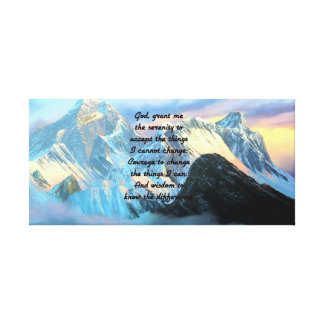 Serenity Prayer With Panoramic View Mount Everest Canvas Print