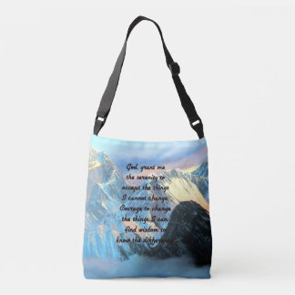 Serenity Prayer With Panoramic View Mount Everest Crossbody Bag