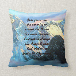 Serenity Prayer With Panoramic View Mount Everest Throw Pillow