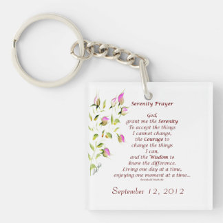 Serenity Prayer with Roses Key Chain