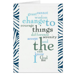 Serenity Prayer Word Art Zebra Print Card