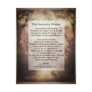 Serenity Prayer wrapped canvas art with quote
