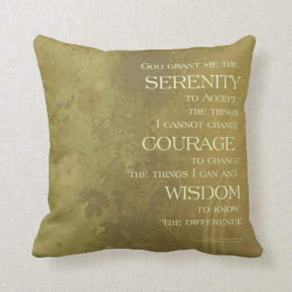 Serenity Prayer Yellow Gold Throw Pillow