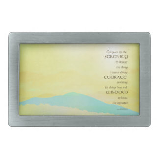 Serenity Prayer Yellow Sky Blue Mountain Belt Buckle