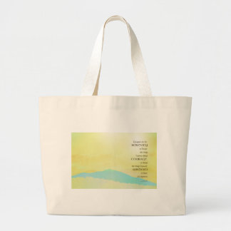 Serenity Prayer Yellow Sky Blue Mountain Large Tote Bag