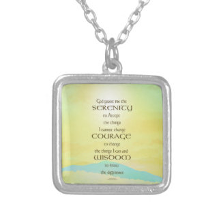 Serenity Prayer Yellow Sky Blue Mountain Silver Plated Necklace