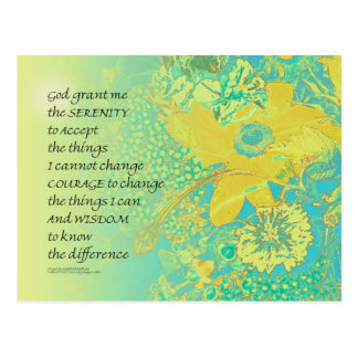 Serenity Prayer Yellow Turquoise Bouquet Postcard