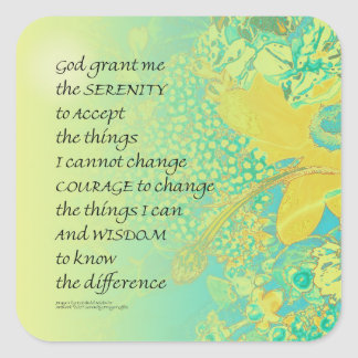 Serenity Prayer Yellow Turquoise Bouquet Square Sticker