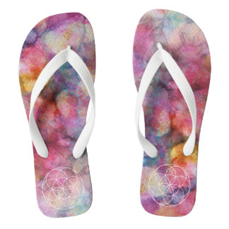 Serenity Random Abstract Alcohol Ink Painting Blue Flip Flops