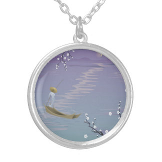 """Serenity"" Round Necklace, Silver-tone Silver Plated Necklace"