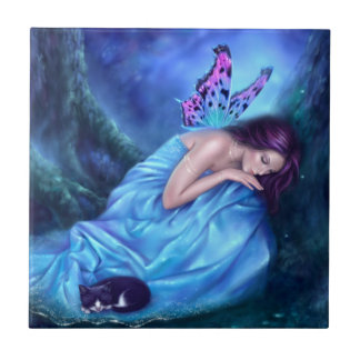 Serenity Sleeping Butterfly Fairy & Kitten Tile
