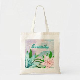 Serenity watercolor canvas tote bag