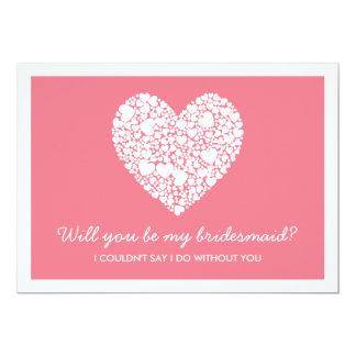 Serez-vous ma demoiselle d'honneur ? Carte rose de Carton D'invitation 12,7 Cm X 17,78 Cm