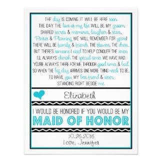 Serez-vous ma domestique d honneur Turquoise poè Cartons D'invitation Personnalisés