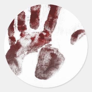 Serial killer blood handprint classic round sticker