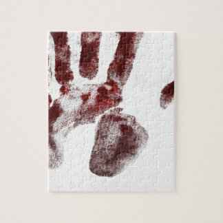 Serial killer blood handprint jigsaw puzzle