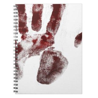 Serial killer blood handprint notebook
