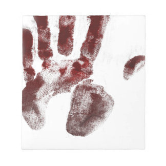 Serial killer blood handprint notepad
