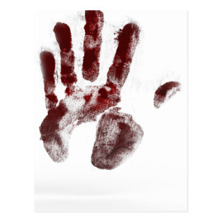 Serial killer blood handprint postcard