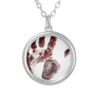 Serial killer blood handprint silver plated necklace