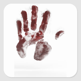 Serial killer blood handprint square sticker