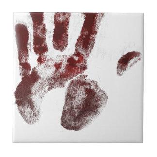 Serial killer blood handprint tile