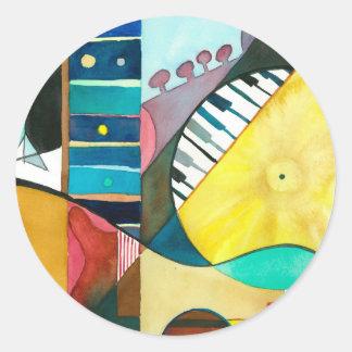 Série musicale - voies de guitare sticker rond