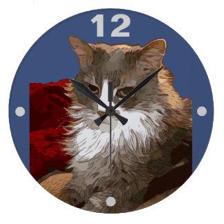 SERIOUS CAT LARGE CLOCK