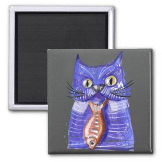 Serious Cat Square Magnet