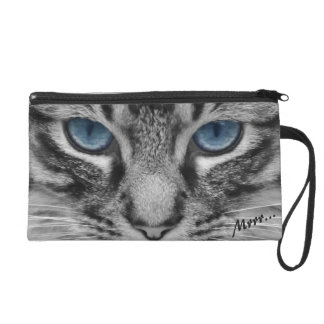 Serious Cat with Blue Eys Customizable Wristlet